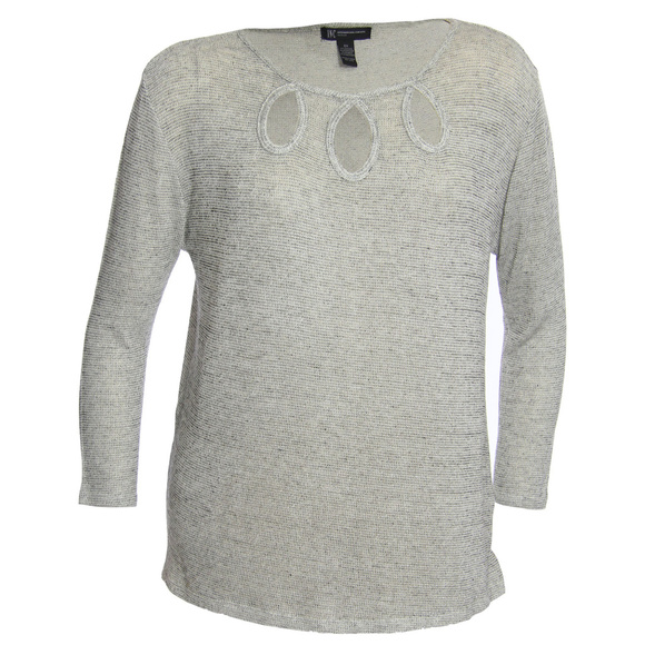33f56a6a903e5 0x Gray Shimmer Keyhole Neckline Knit Top Shirt